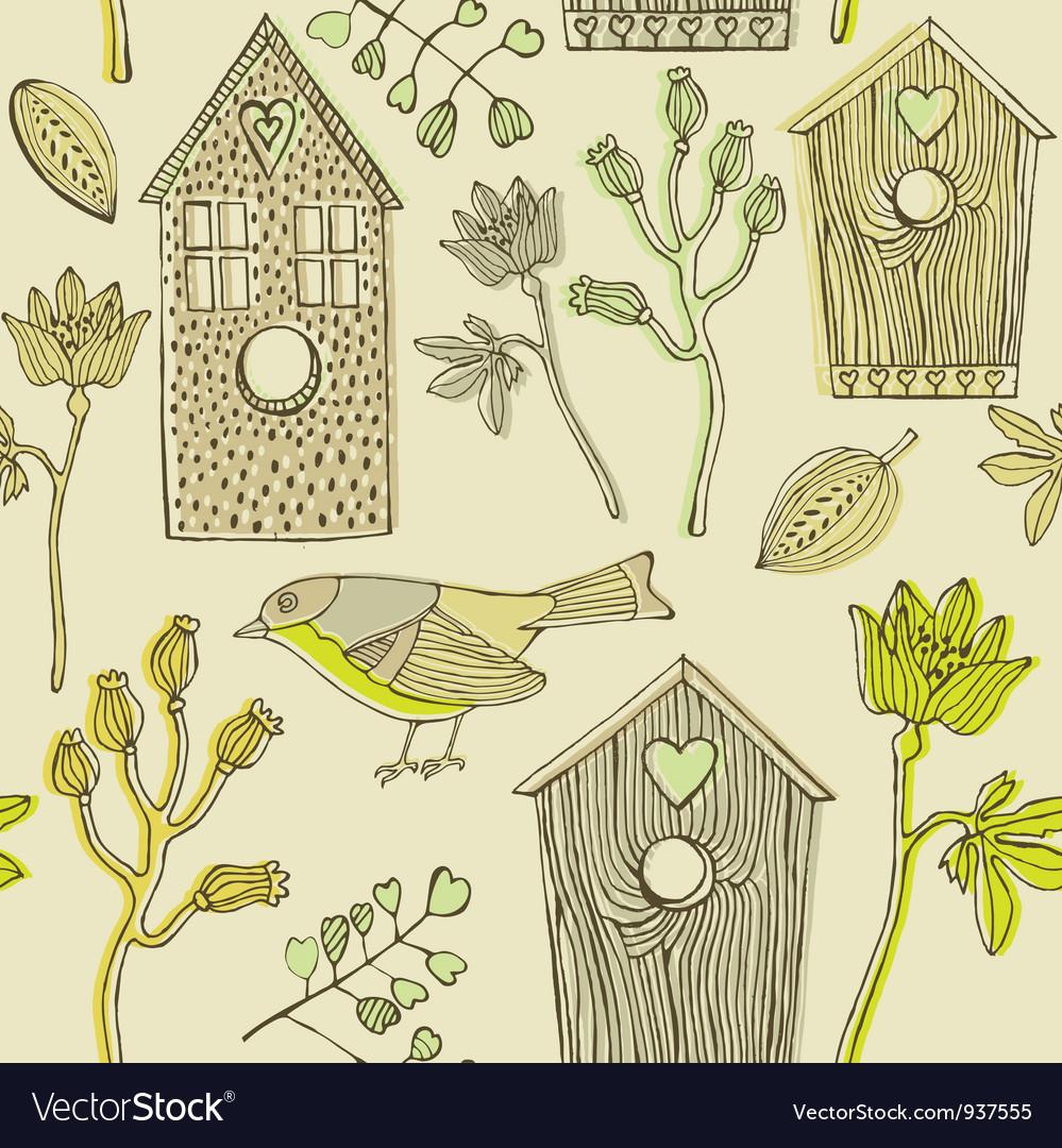 Retro Bird House Pattern