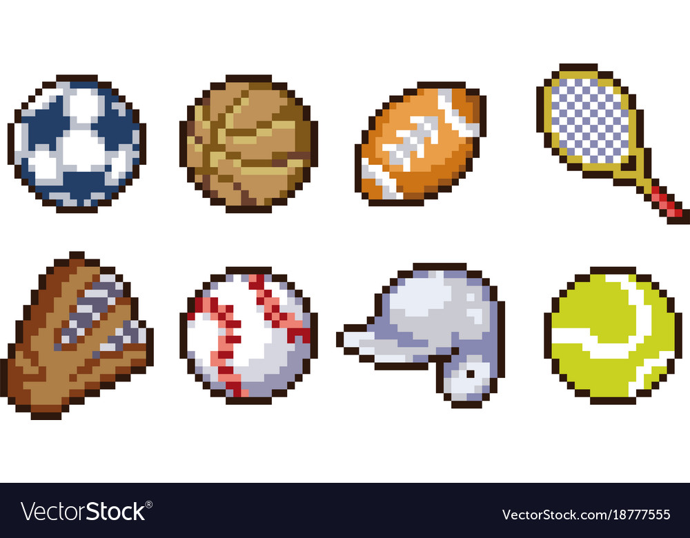 Set of pixel sport icons