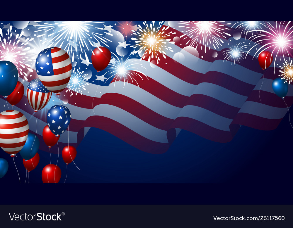 American flag and balloons with fireworks