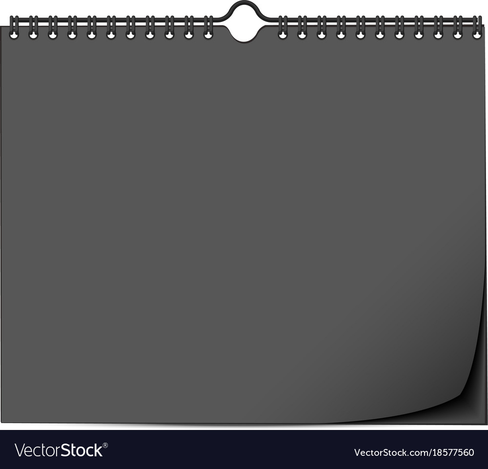 Black wall calendar mock up template with spring Vector Image