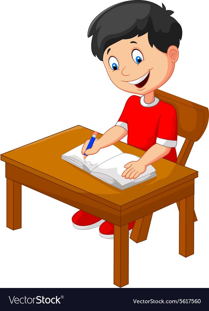 Cartoon little boy writing vector image