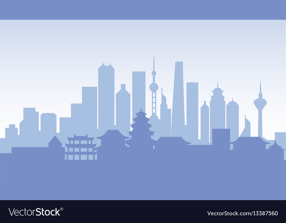 China silhouette architecture buildings town city