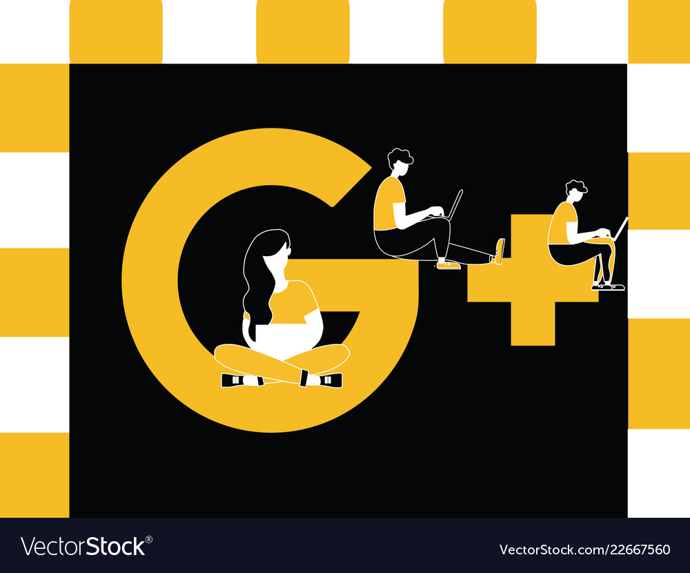Creative word concept google plus and people
