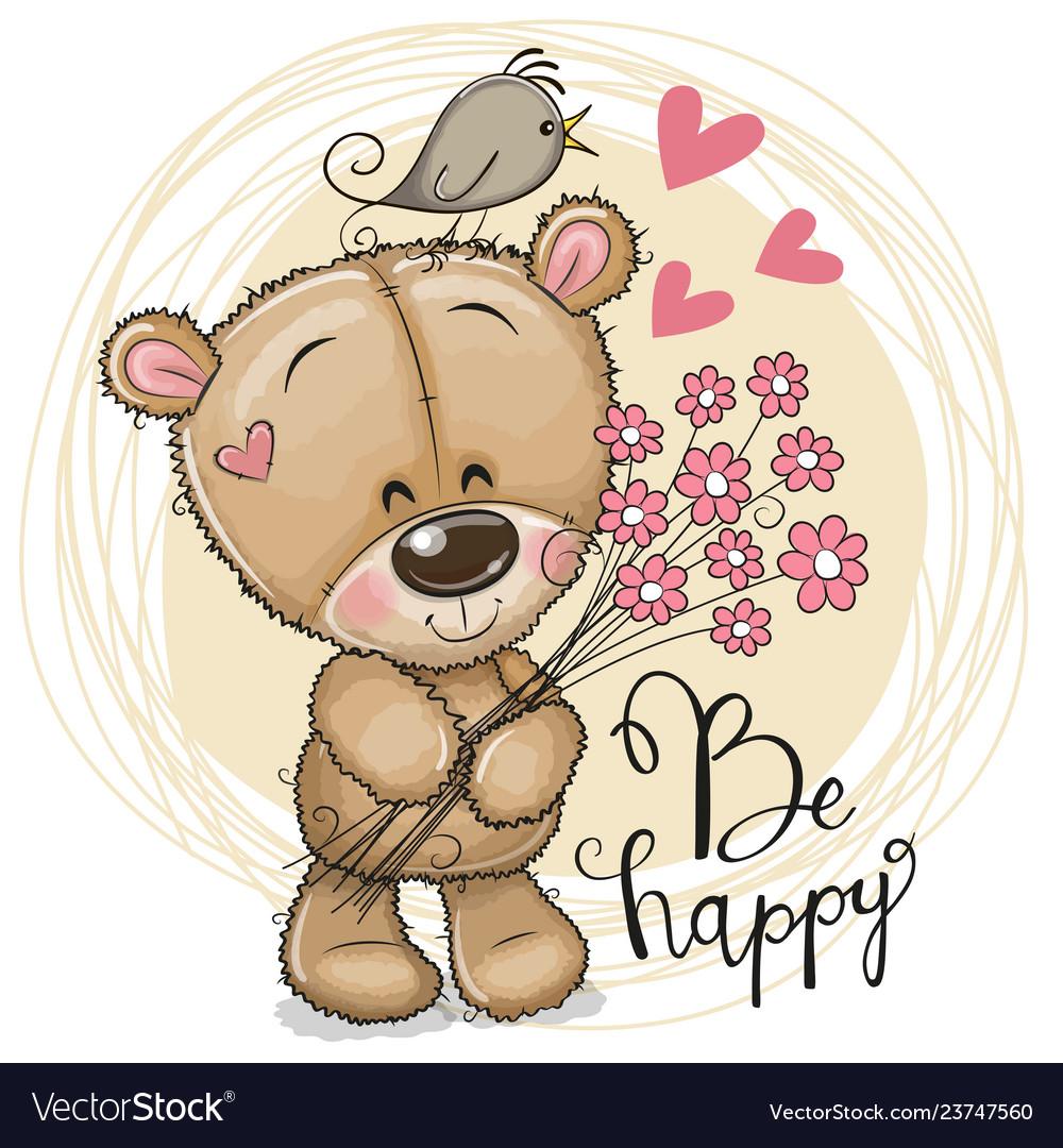 Cute cartoon teddy bear with flowers Royalty Free Vector