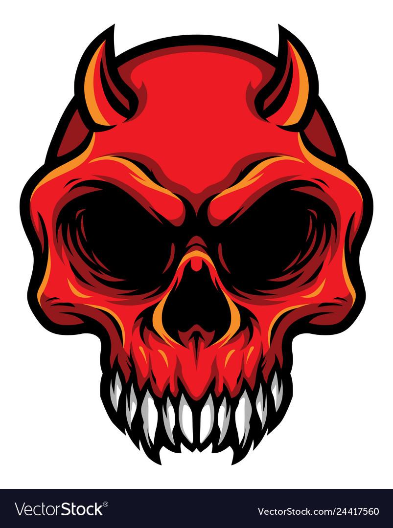 Detailed red demon devil skull head