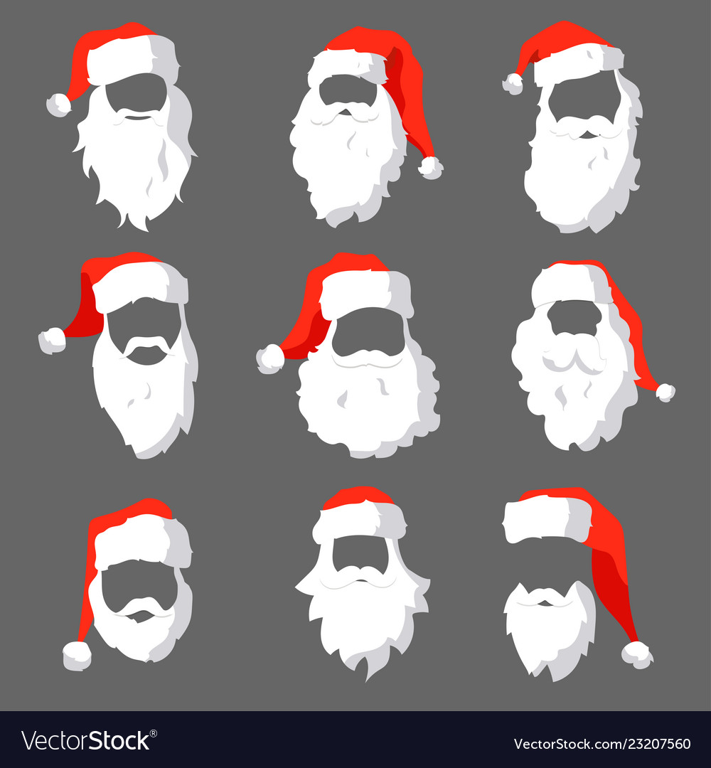 Different santa hats moustache and beards