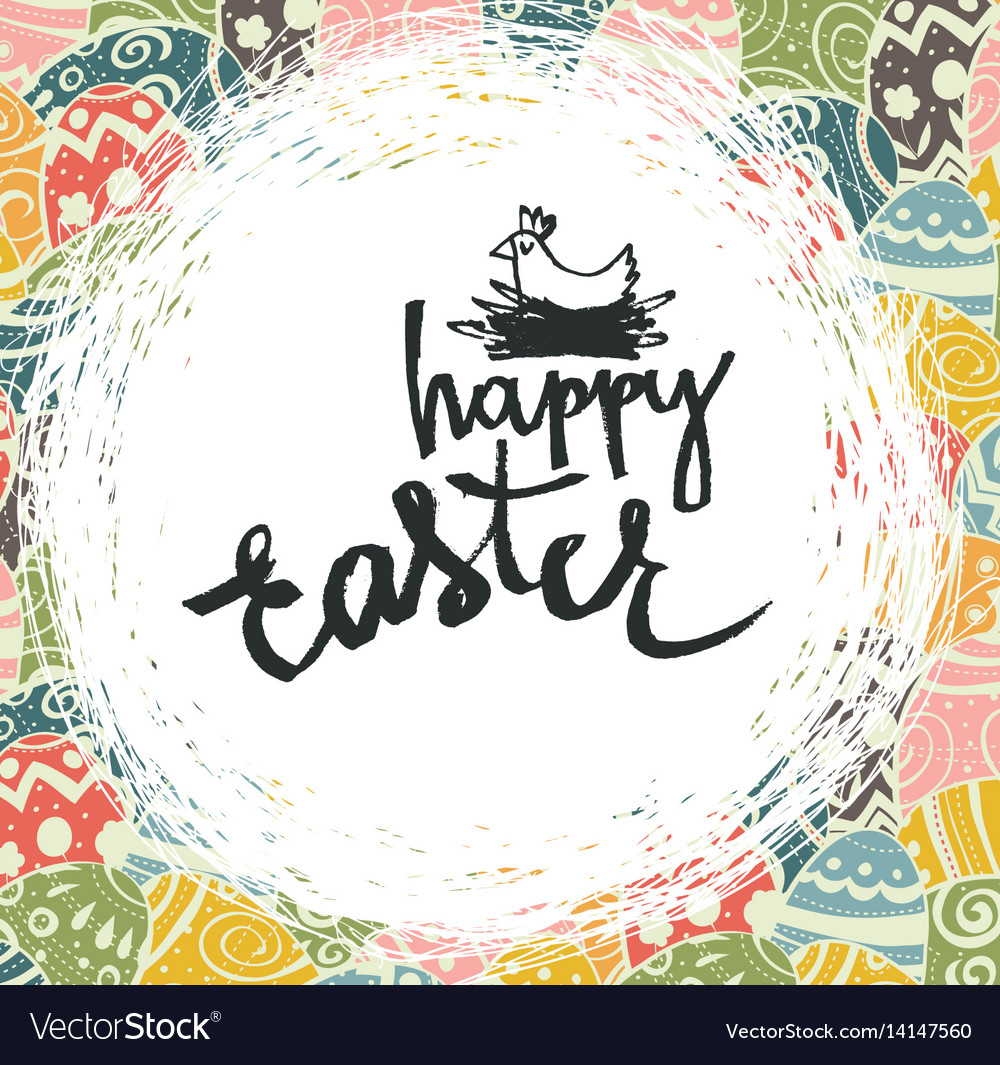 Easter eggs pattern colorful background and happy