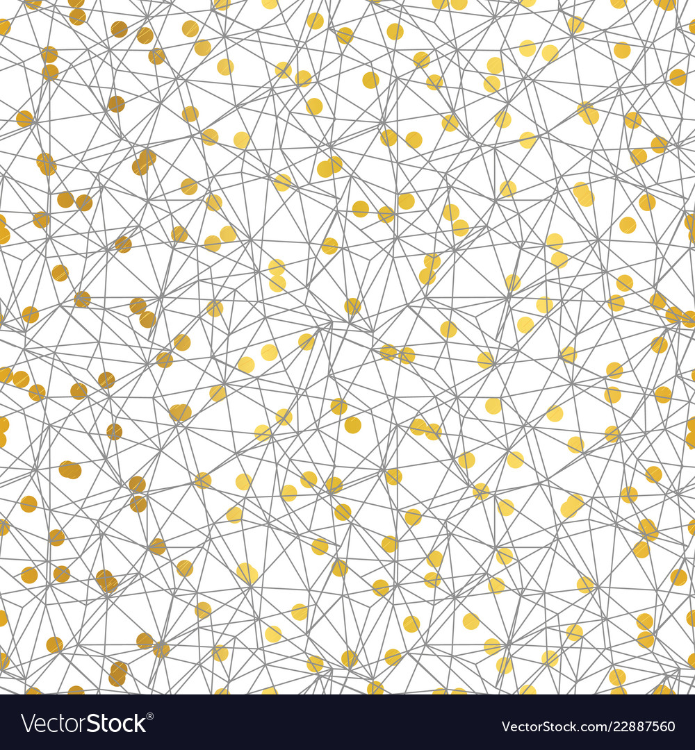 Gold and grey dots network seamless pattern