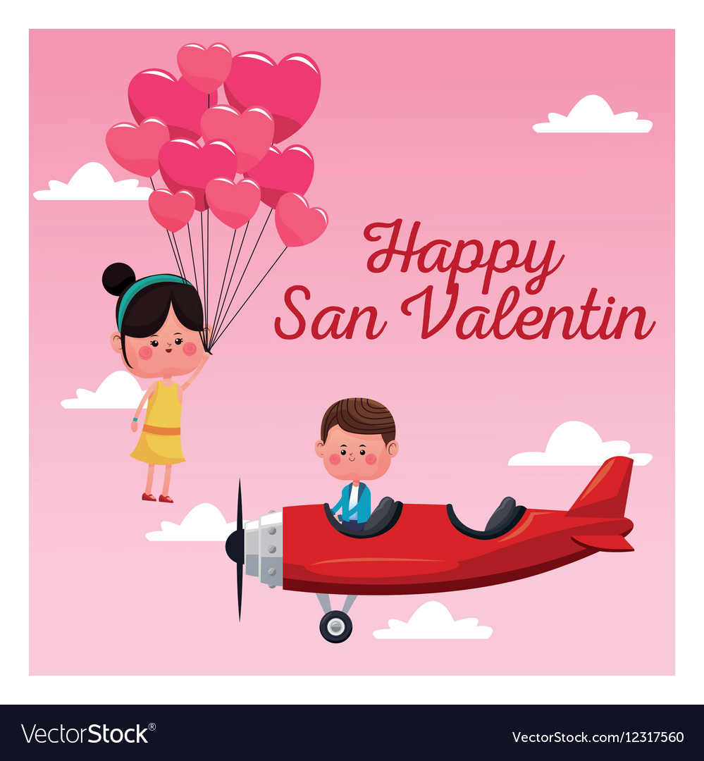 Happy San Valentine Card Boy Plane And Girl Flying