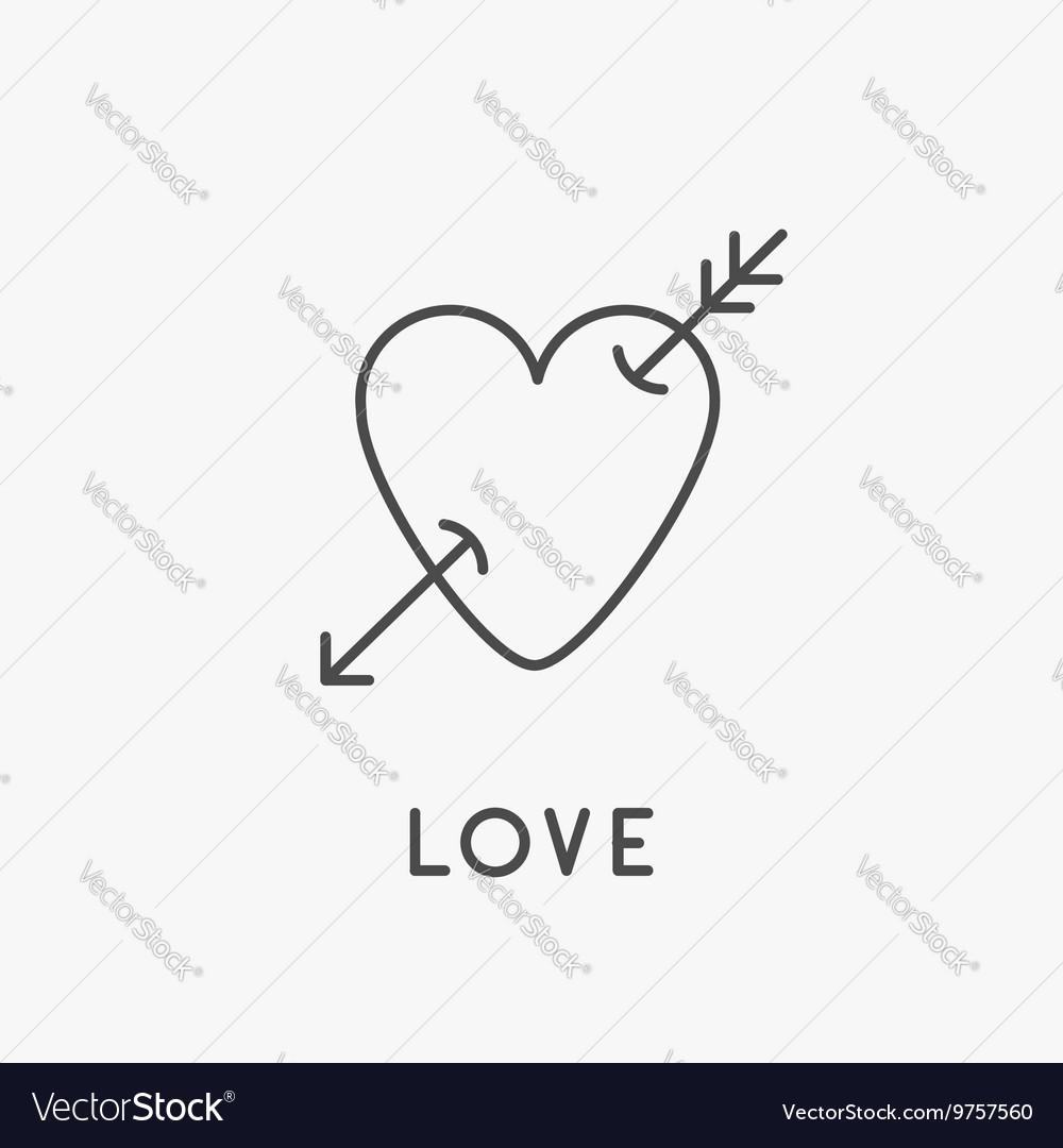 Heart arrow sign symbol Thin line icon Isolated