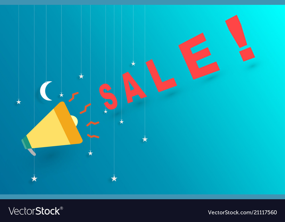 Midnight sale announce with megaphone