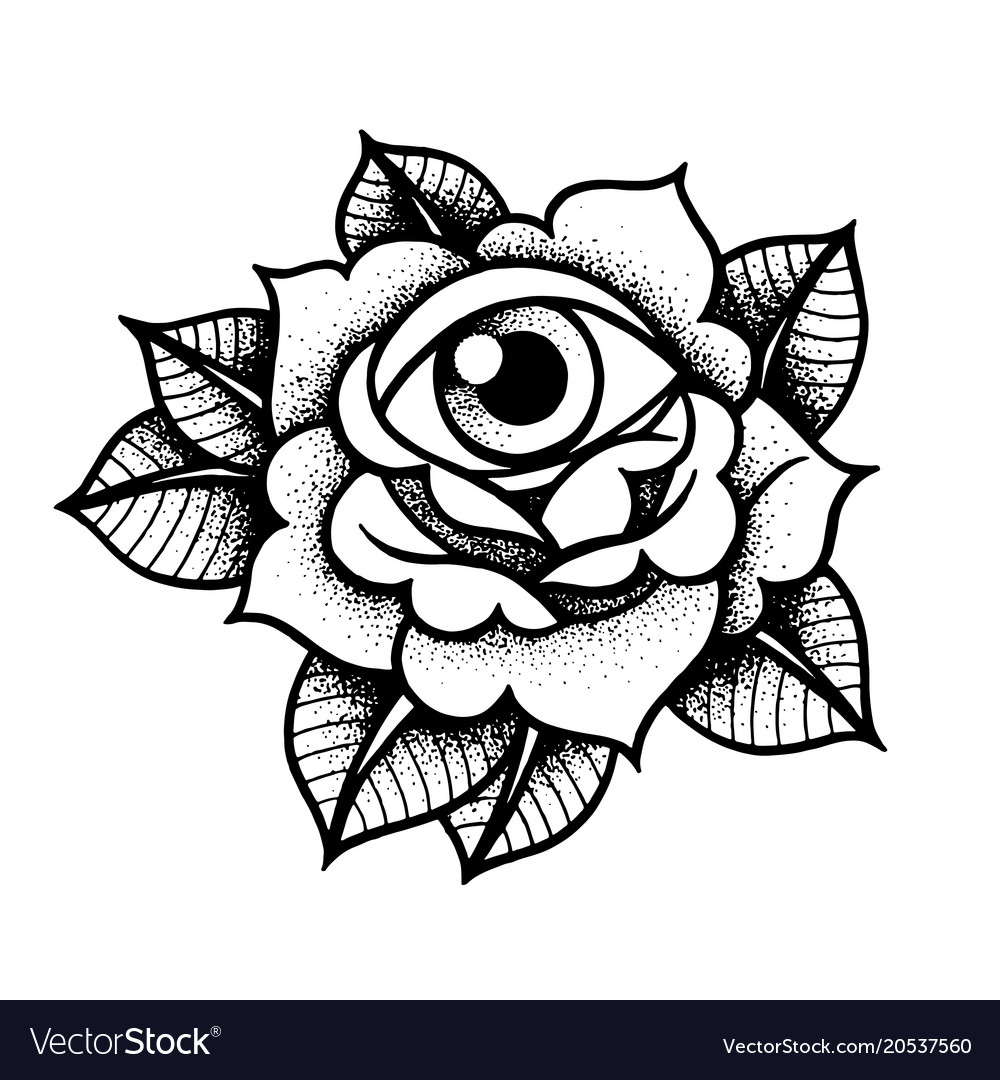 Eye In A Rose Tattoo: Old School Rose Tattoo With Eye Royalty Free Vector Image