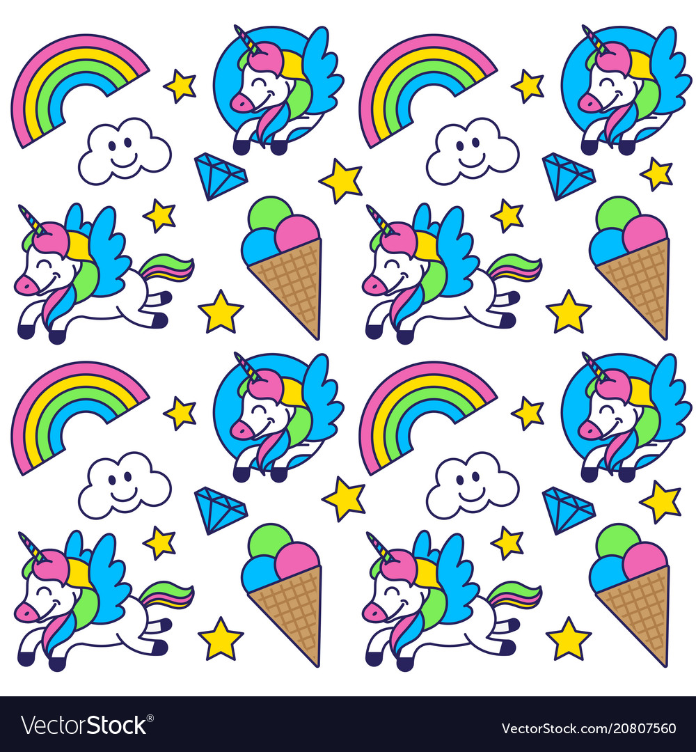 Pattern with happy unicorn
