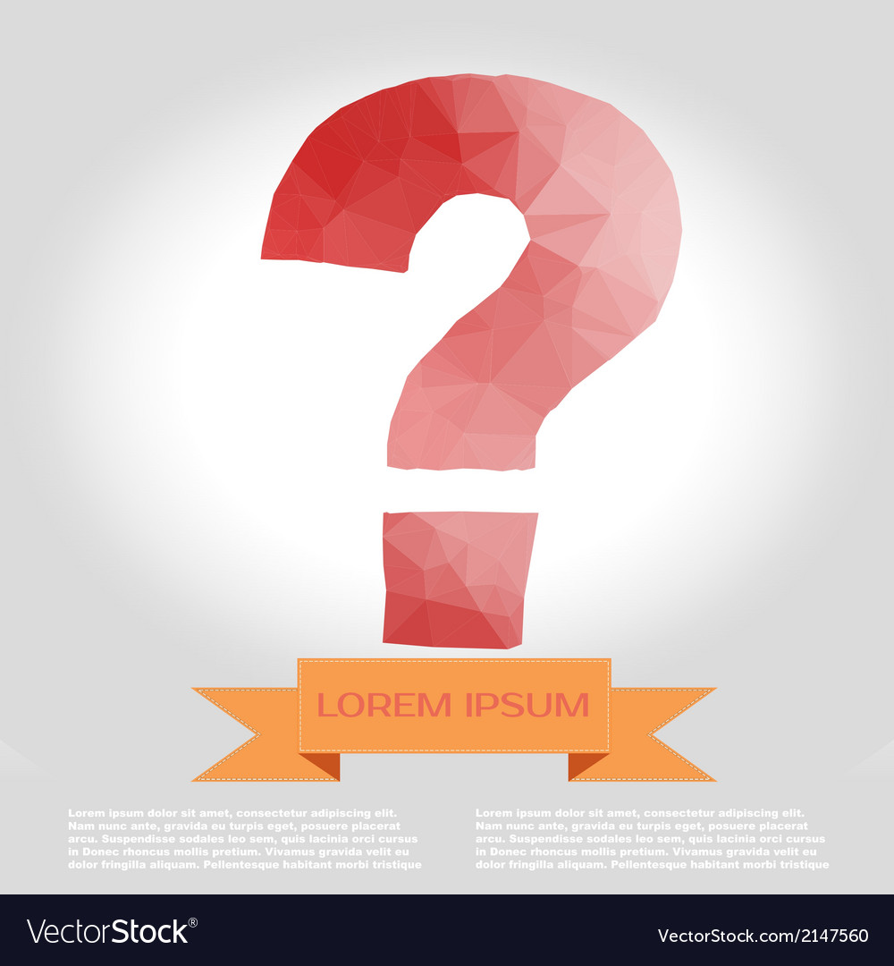 Question mark polygon infographic element with