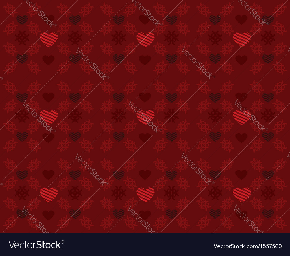Red pattern with hearts2 vector image