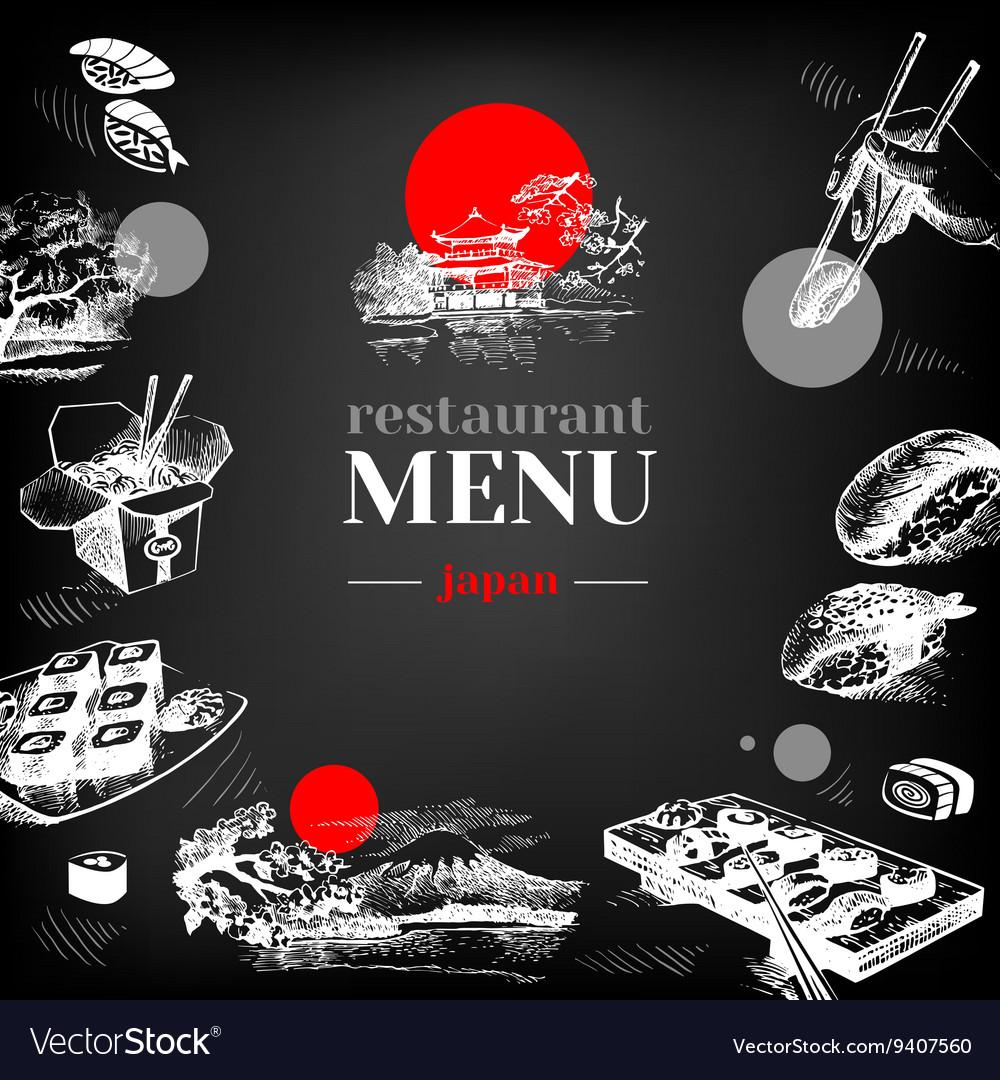 Restaurant chalkboard Japanese food menu vector image