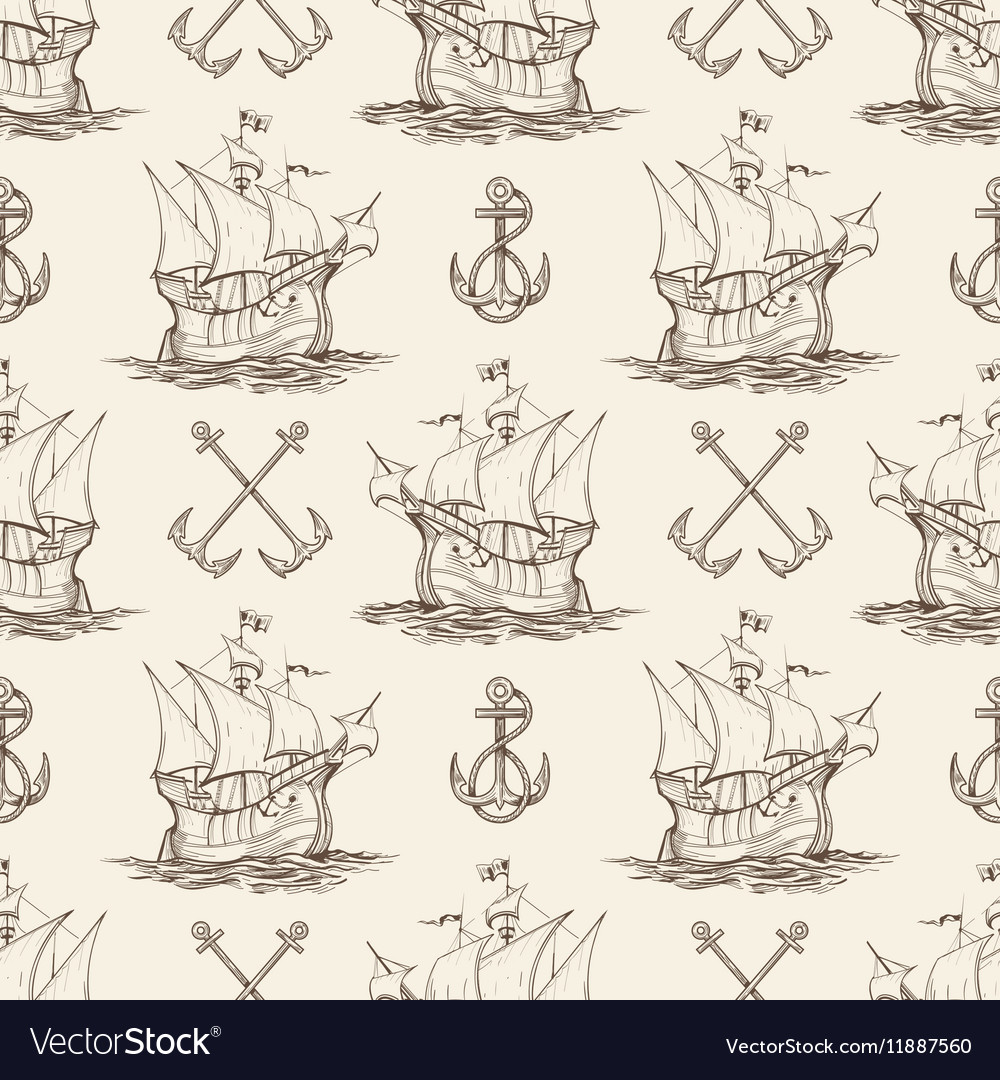 Sailship and Anchor Seamless pattern
