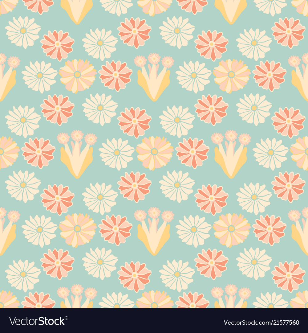 Soft pastel retro floral blue and yellow vintage