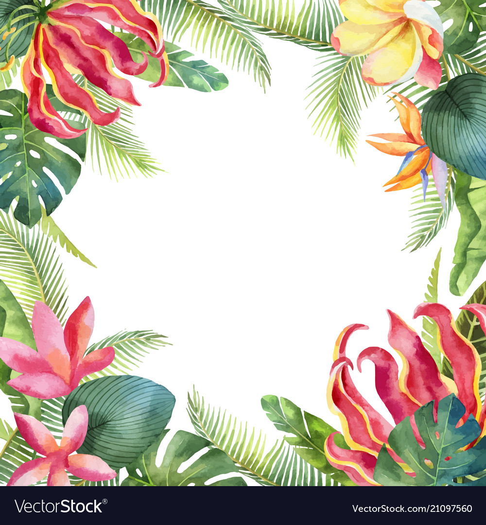 Watercolor card with tropical leaves and vector image