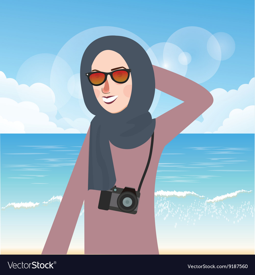 Woman wear hijab and glasses casual in beach while