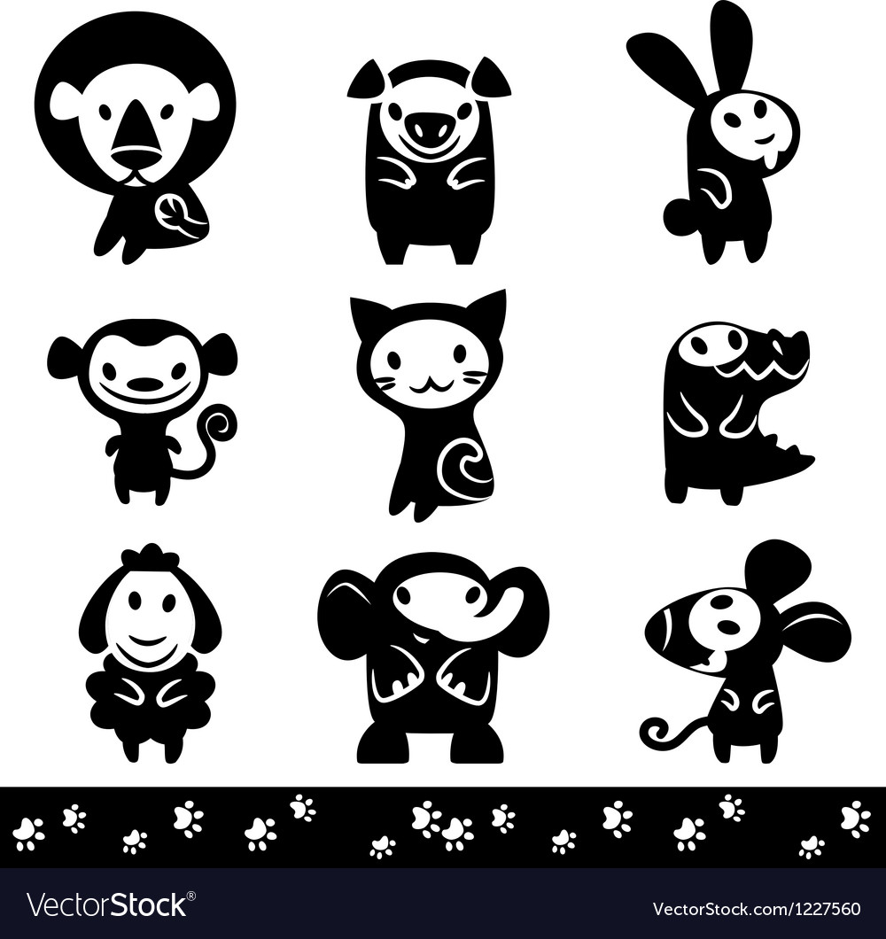 Zoo collection of Animals Silhouette vector image