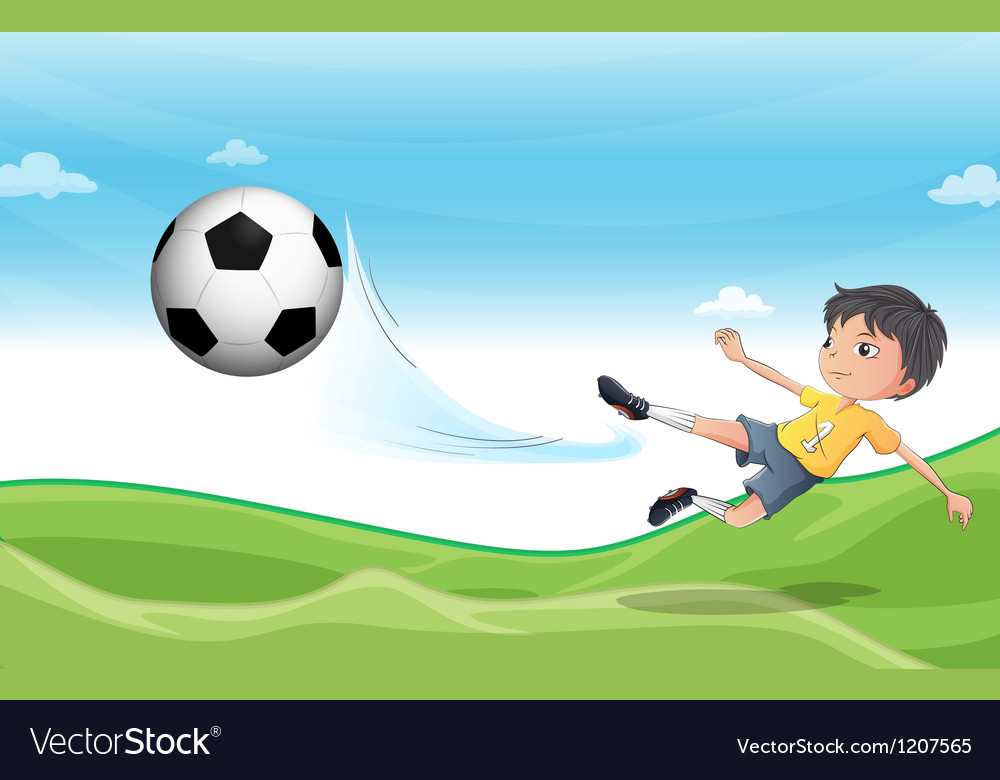 A boy playing football at the hills vector image