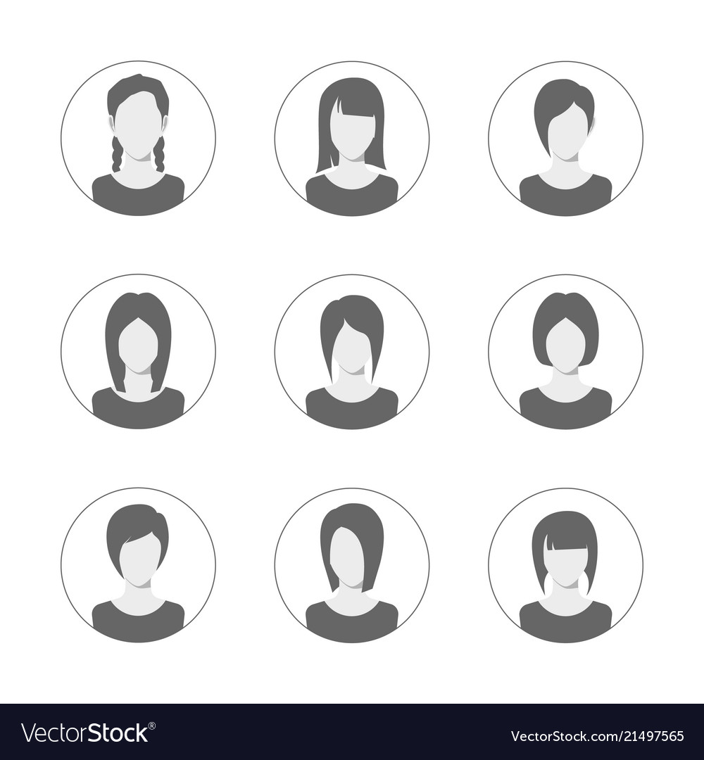 App or profile user icon set set of women avatar