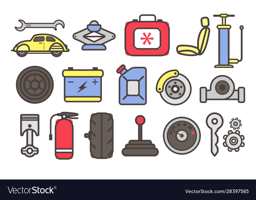 Auto parts and car repair service tools isolated