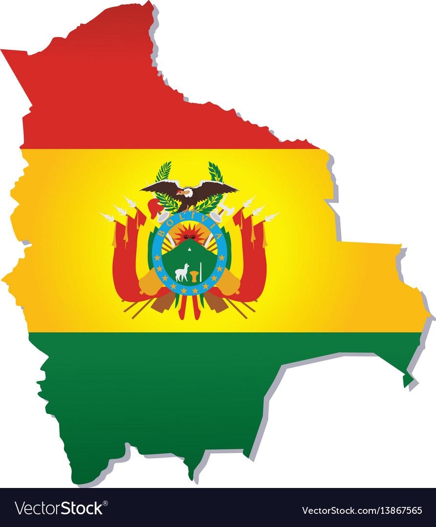 Bolivia flag amp map Royalty Free Vector Image