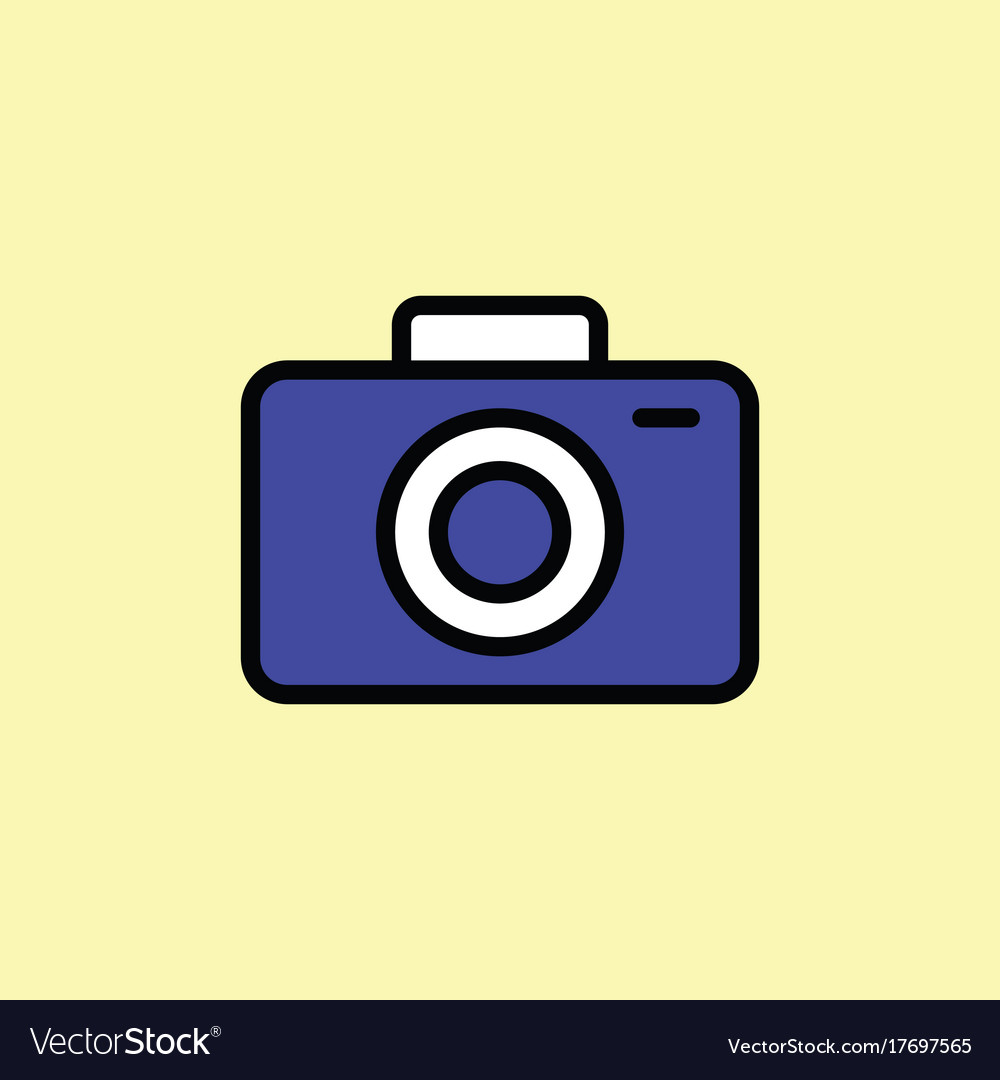 Camera icon thin line on color background