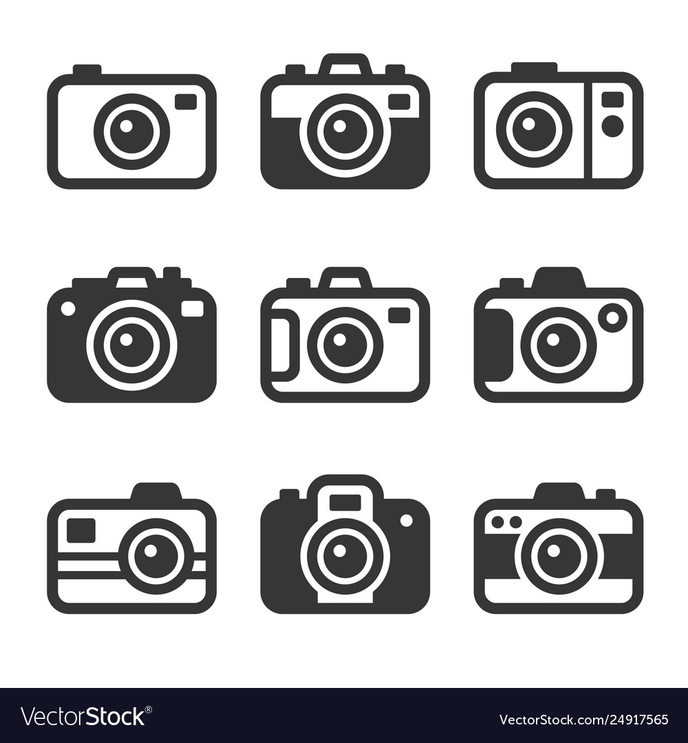 Camera icons set on white background