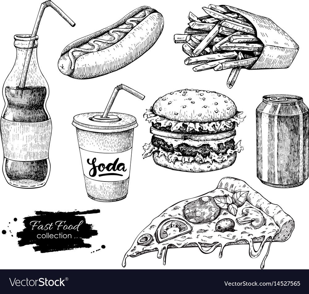 Fast food hand drawn set engraved style