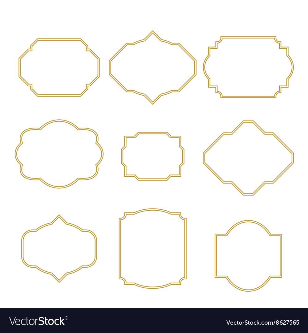 Gold border white empty frame set for cards