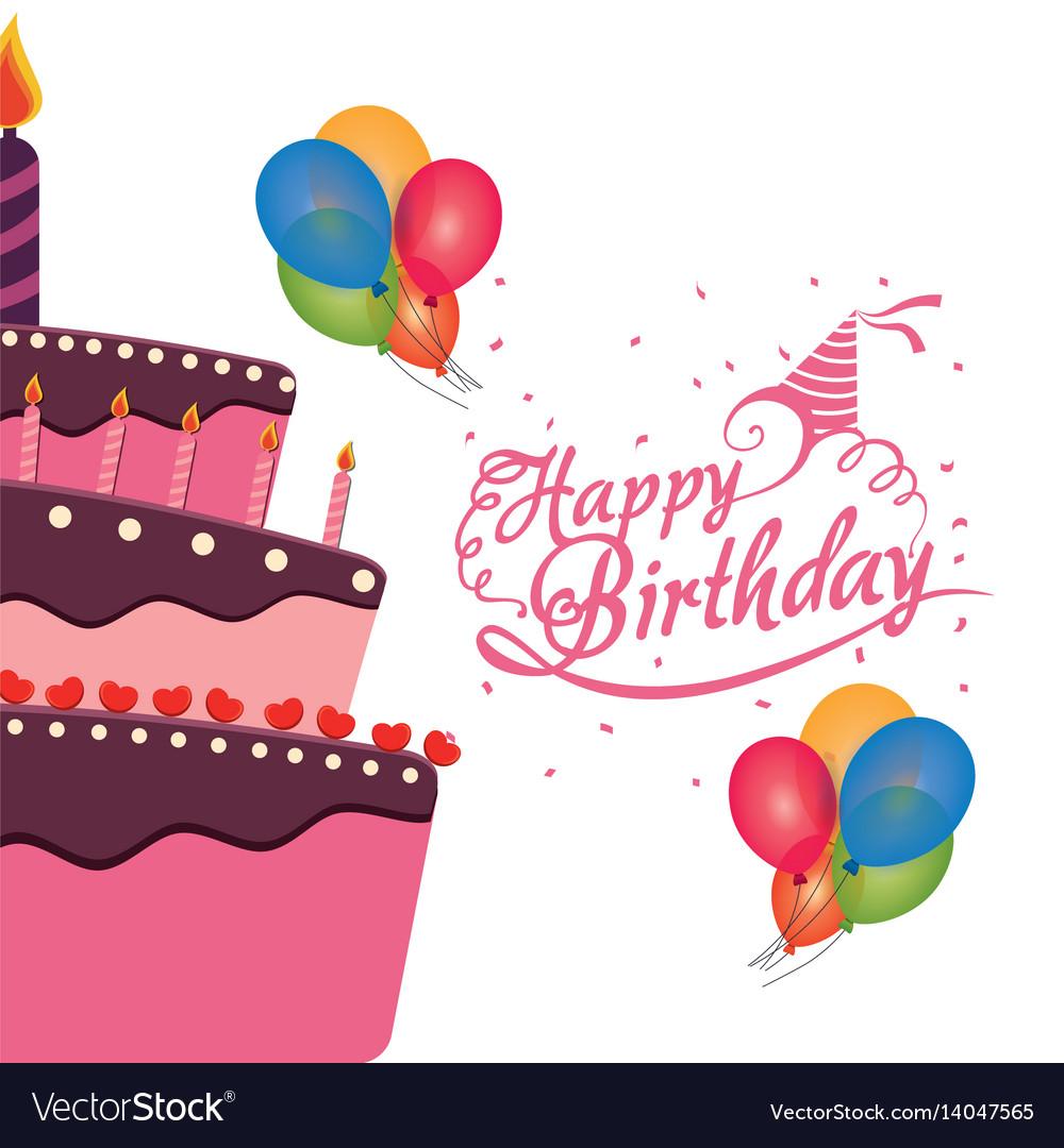 Happy Birthday Cake Balloons Confetti Celebration Vector Image
