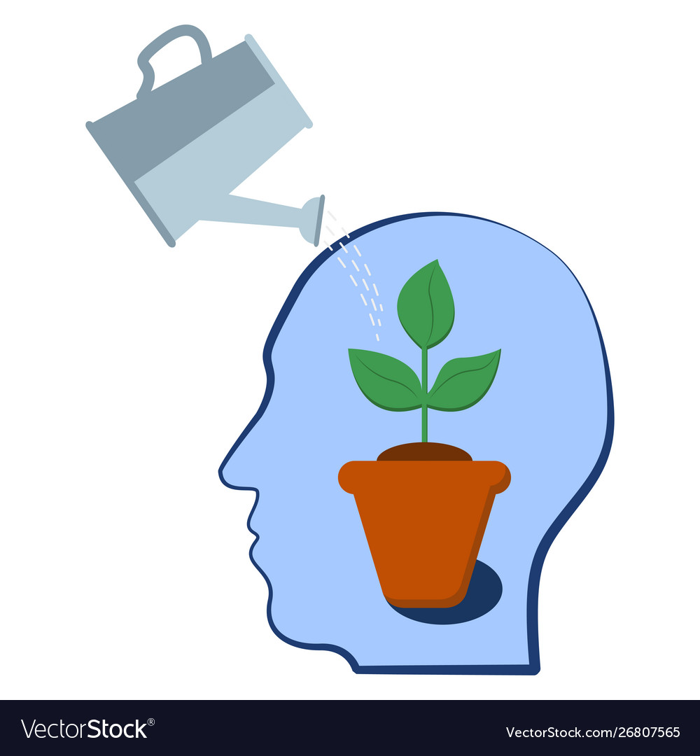 Head with a plant inside selfdevelopment