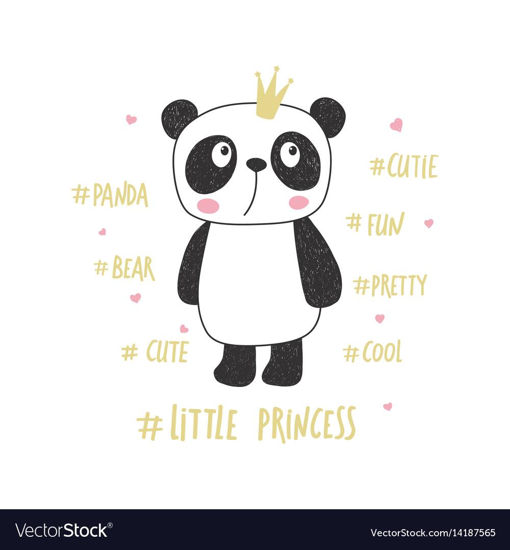 Little panda princess vector image