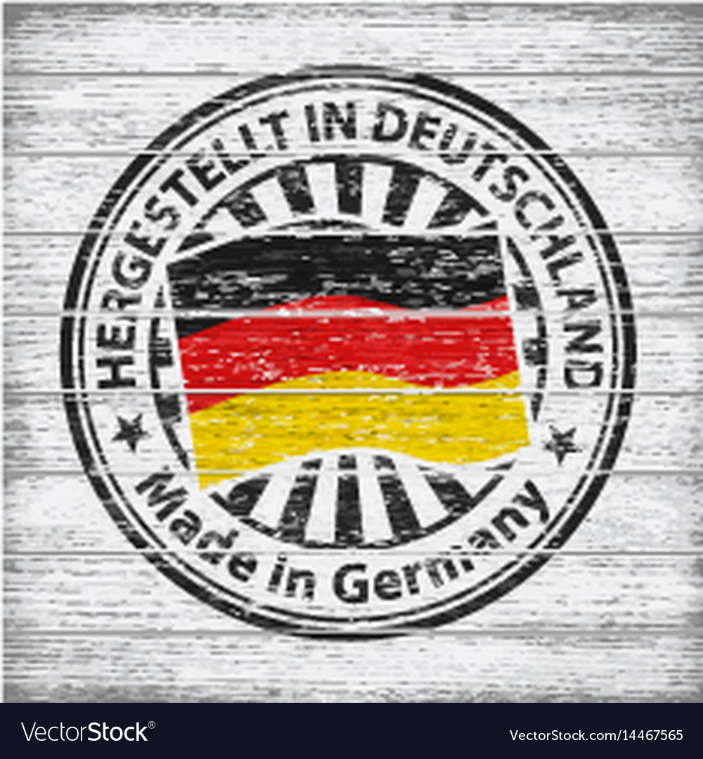 Made in germany stamp on wooden background