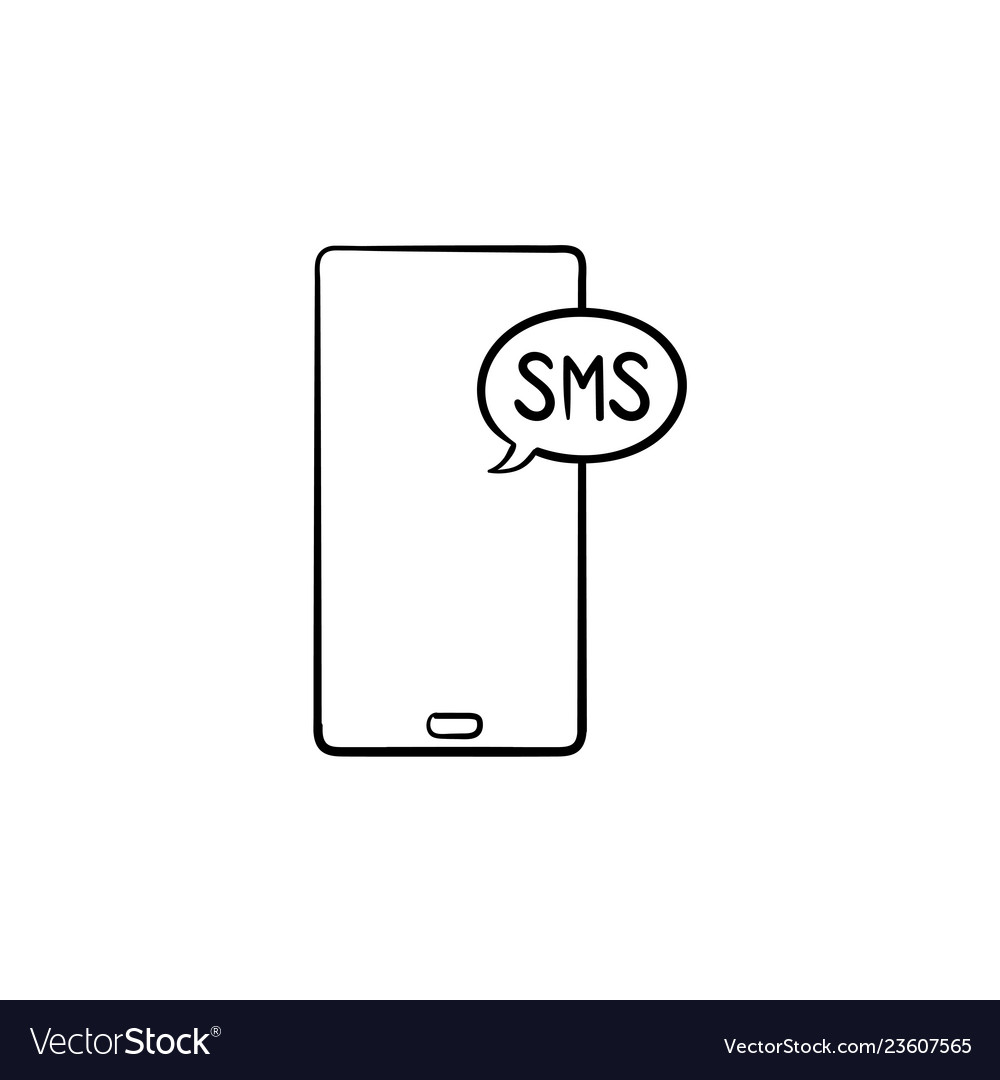 Mobile phone with sms hand drawn outline doodle