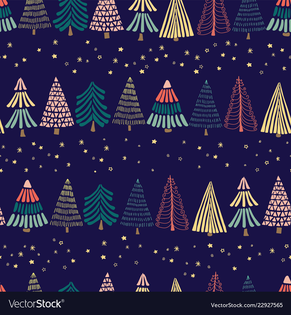 Modern abstract doodle christmas trees in a row