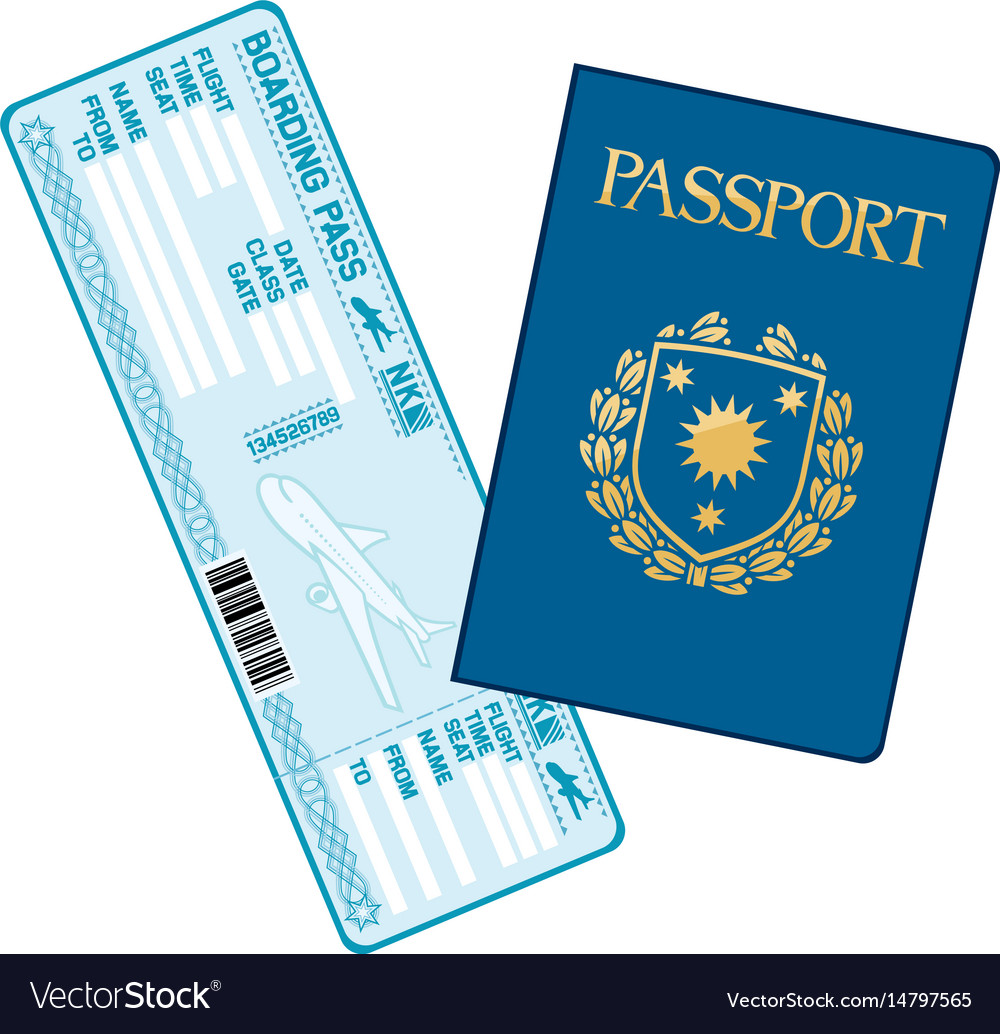 Passport and airline boarding pass ticket