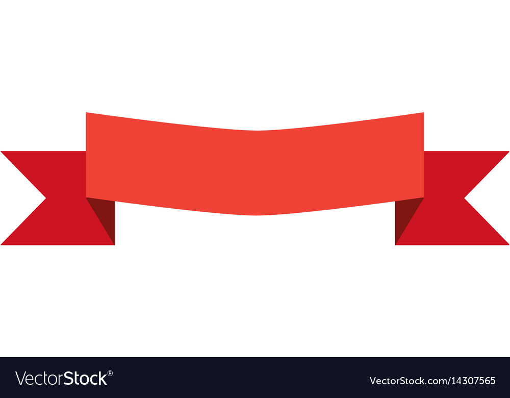 Red banner ribbon and label on white background