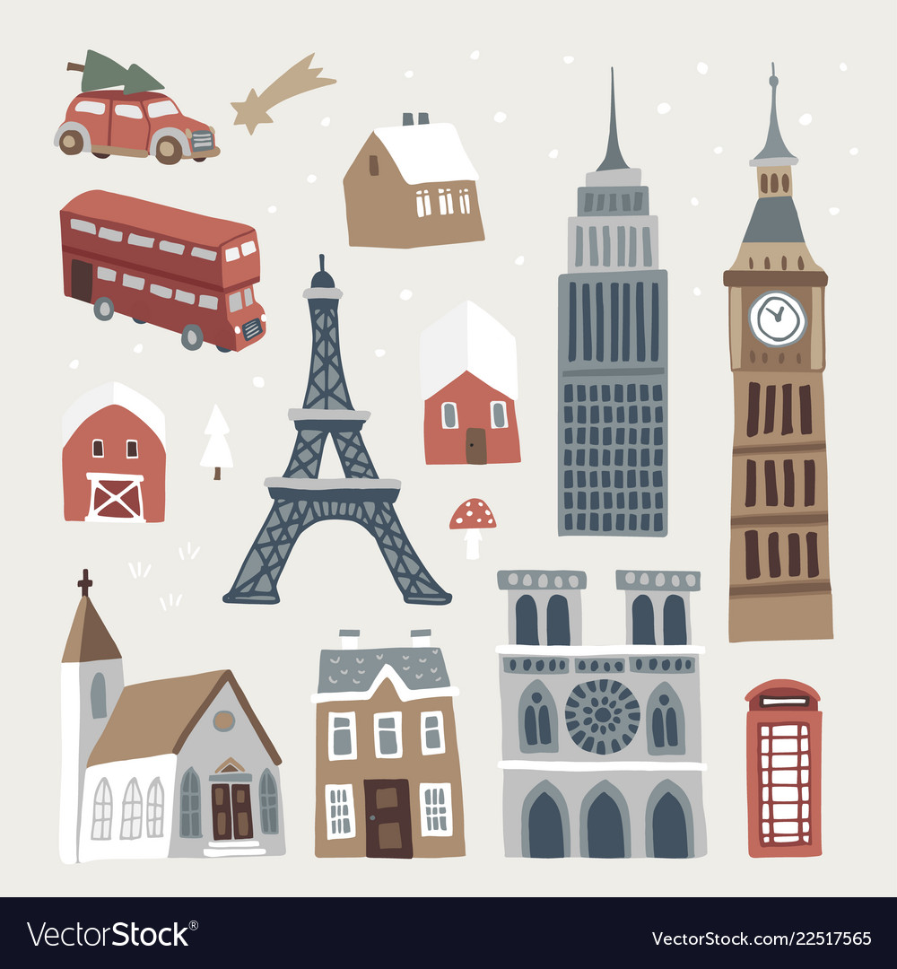 Set of cute winter city town and village icons