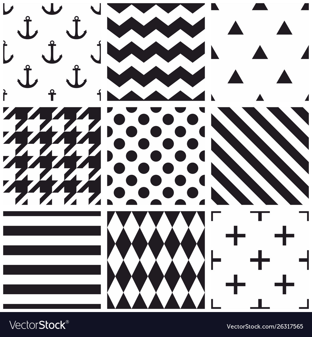 Tile black and white pattern set with polka dots