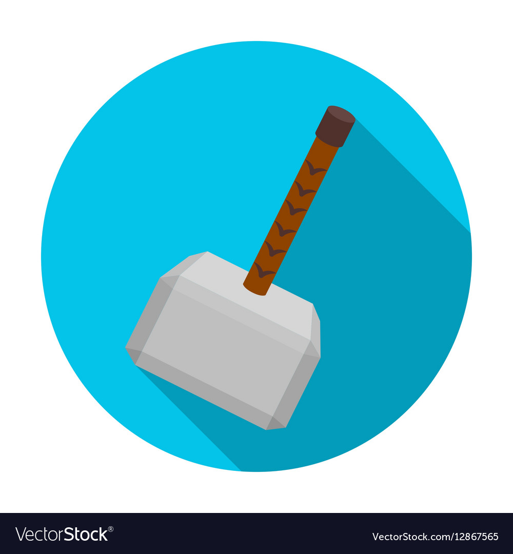 Viking battle hammer icon in flat style isolated vector image