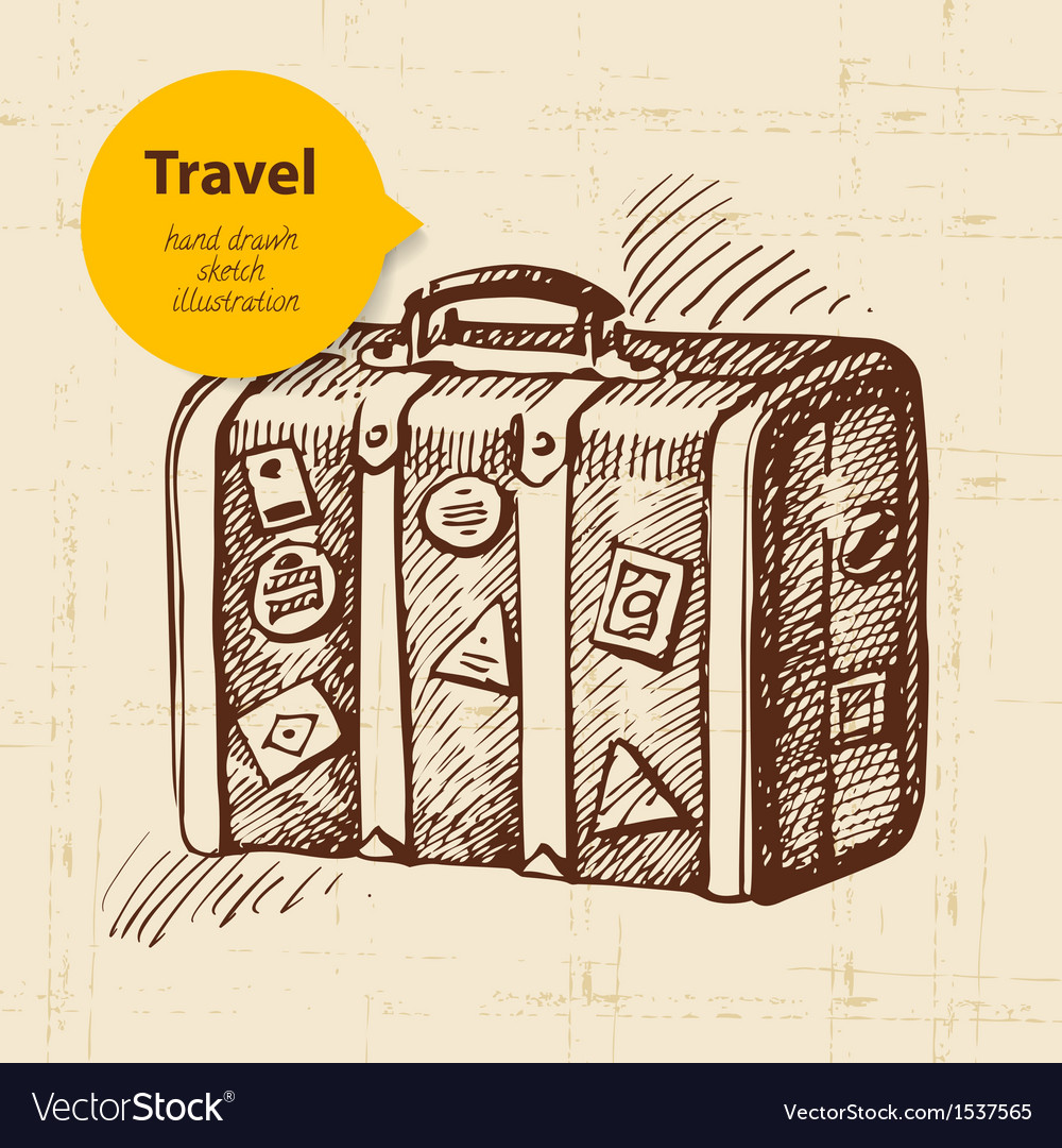 Vintage background with travel suitcase