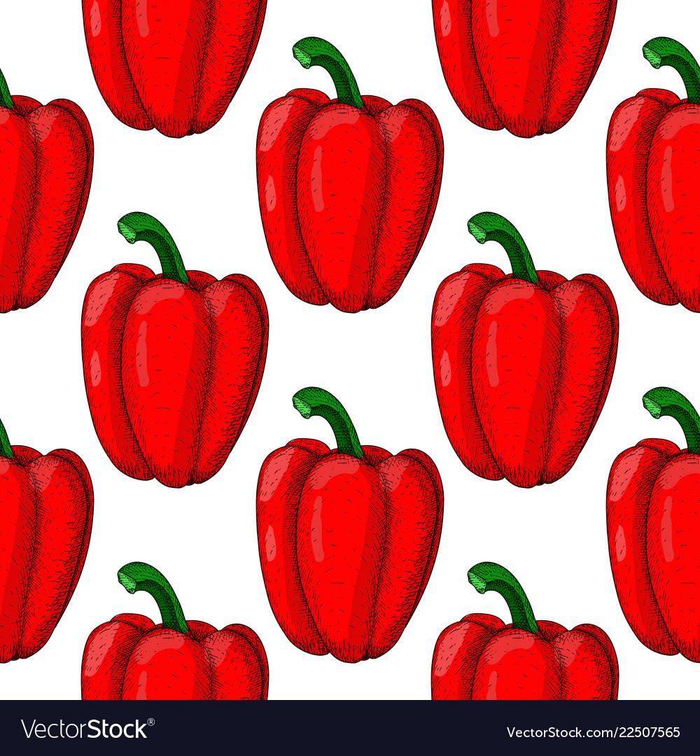 Yellow bell pepper seamless pattern hand drawn