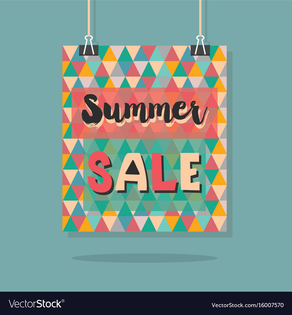 Abstract retro hanging summer sale message poster vector image