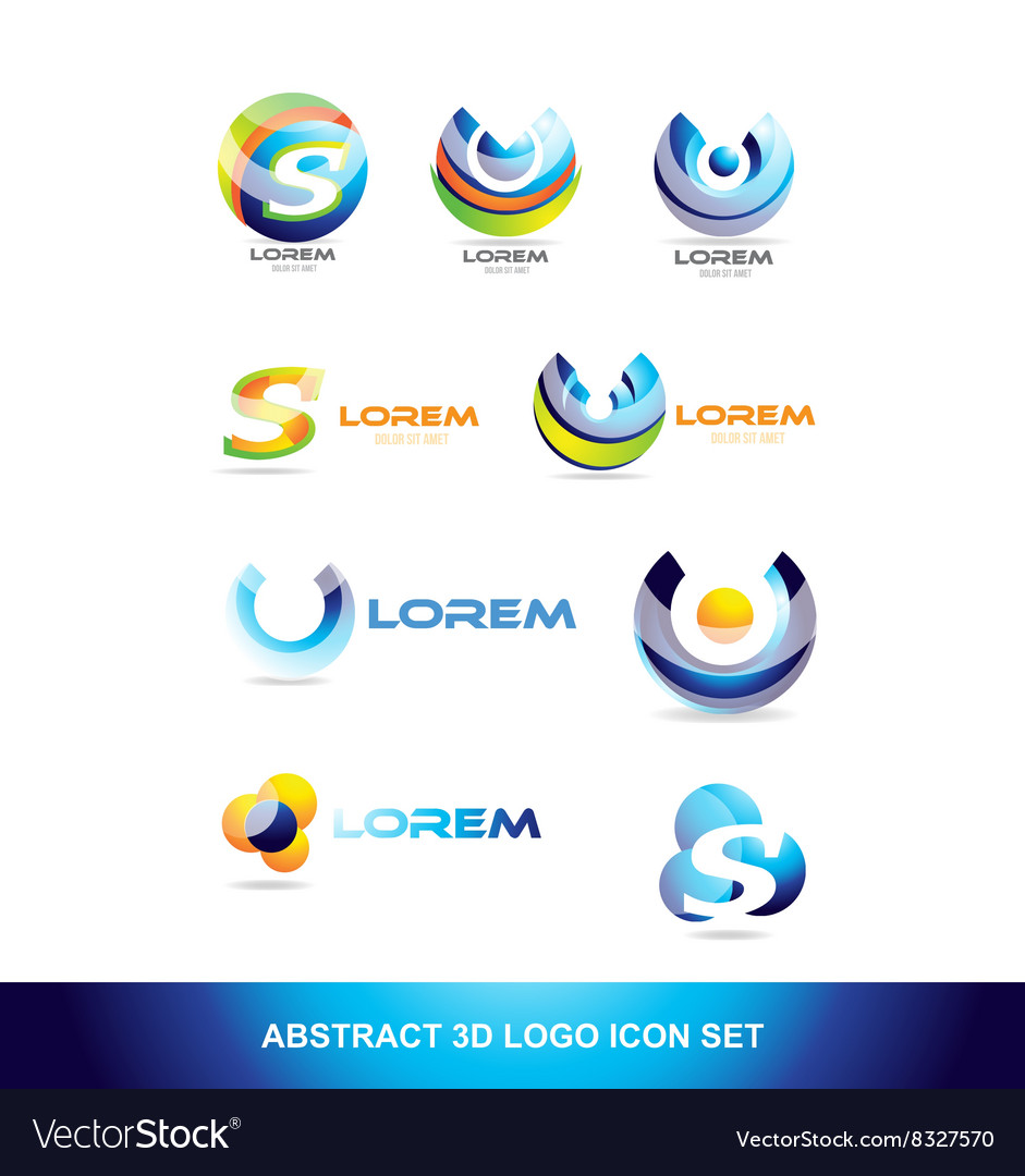 Abstract sphere icon logo set