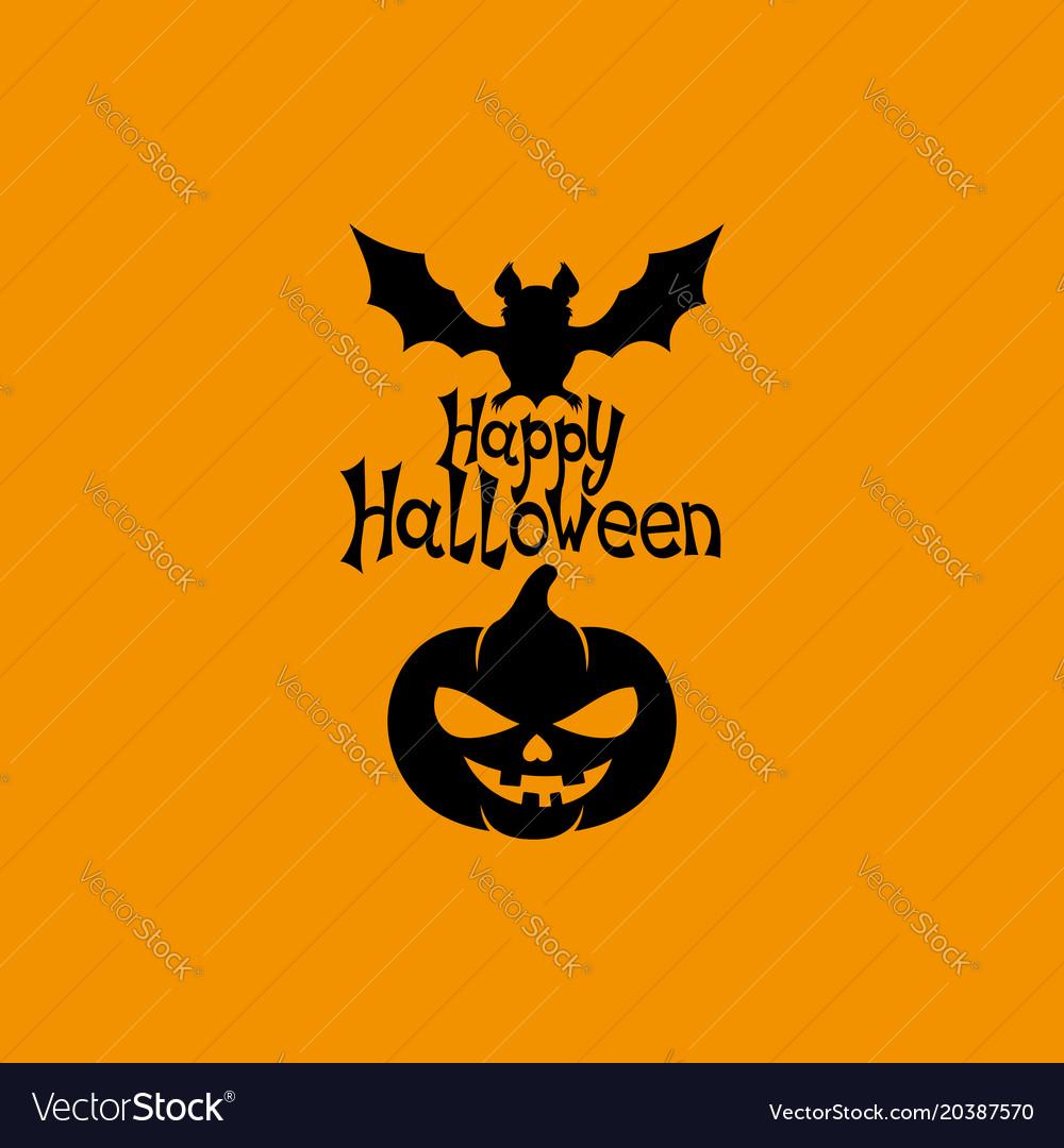 Black bat with pumpkin