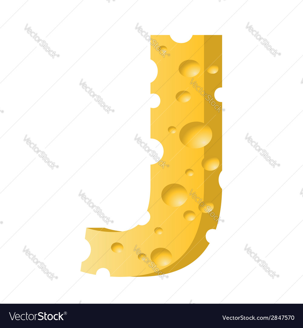 Cheese Letter J Royalty Free Vector Image Vectorstock